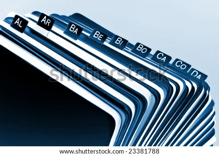 Close-up of old rotary card 16. Filing cabinet background - stock photo
