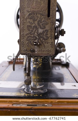 close up of old sewing machine - stock photo