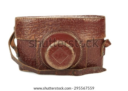 Close-up Of Old Shabby 35 mm Photo Film Camera leather Case Isolated On White Background - stock photo