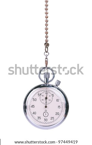 Close-up of old stopwatch timer isolated on white background - stock photo