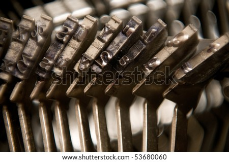 Close up of old type bars on standard typewriter - stock photo