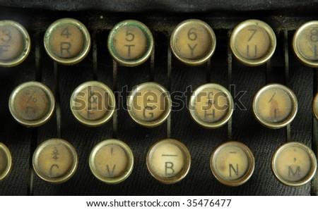 Close up of old type writer keys - stock photo