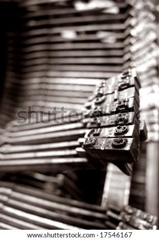 Close up of old typewriter - stock photo