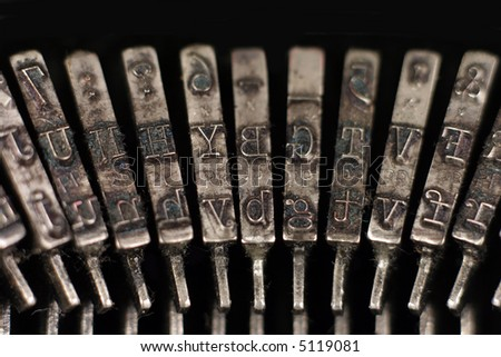 close-up of old typewriter hammers - stock photo