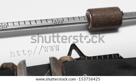 Close up of old typewriter with text - stock photo