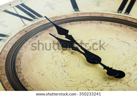 close up of old vintage clock - stock photo