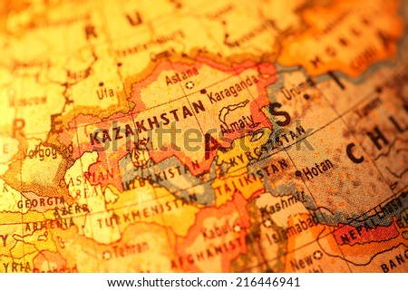 Close up of old vintage globe - stock photo