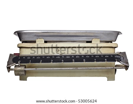 close up of old vintage libra on white background with clipping path - stock photo