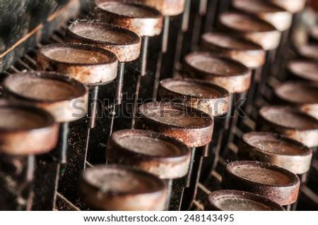 Close up of old vintage manual typewriter - stock photo