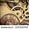 Close-up of old vintage pocket clock mechanism, added grunge texture - stock photo