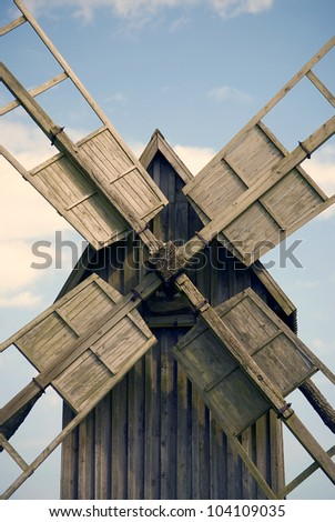 Close up of old windmill on the island Ã?Â?land, Sweden