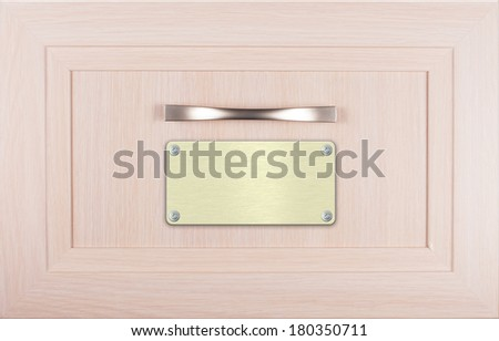 Close up of old wooden card catalogue drawer box with golden labels nailed by white metal screws - stock photo