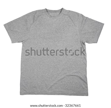 close up of on a t shirt on white background with clipping path - stock photo
