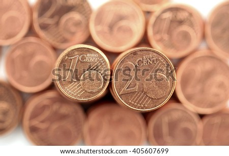 Close up of one and two euro cents  - stock photo
