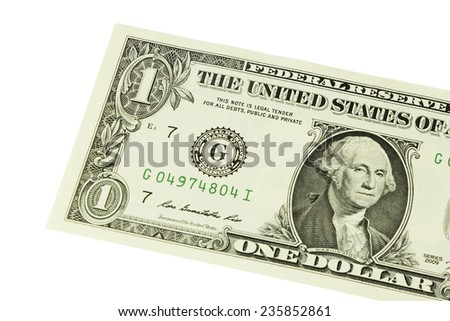 Close-up of one dollar isolate on white background