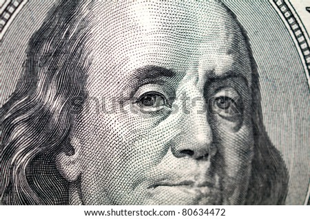 close up of one hundre dollar bill - stock photo