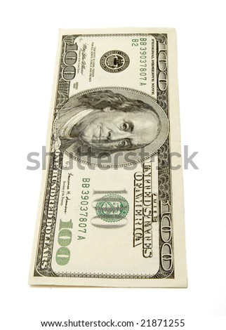 close up of  one hundred dollars bill on white background with clipping path