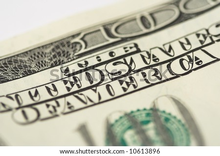Close-up of one hundred dollars note, shallow dof. - stock photo