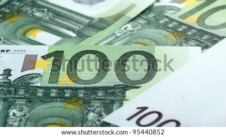 Close-up of one hundredth euro banknotes