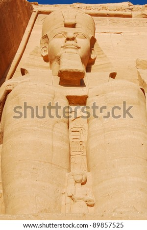 Close-up of one of the colossal statues of Ramses II, Egypt - stock photo