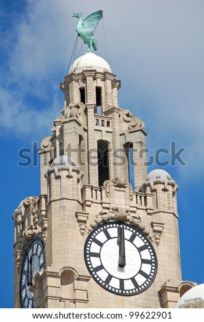 Close up of one tower of the Royal Liver Building in Liverpool, UK - stock photo