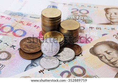 Close up of One Yuan coins for China currency - stock photo