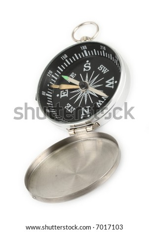 close-up of open chrome compass against white background, minimal natural shadow underneath - stock photo