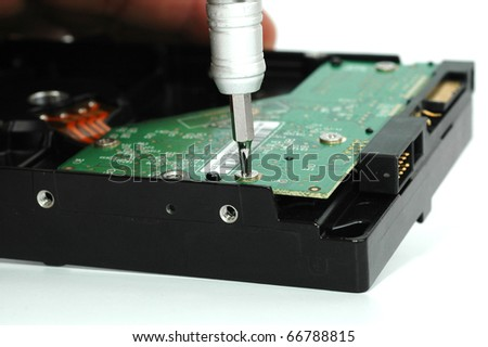 Close up of opened hard disk drive hard disc repairing concept