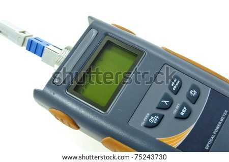 Close up of Optical Power Meter isolated on white background. This equipment used to measure the optical loss for internet installation using fiber optic cable.
