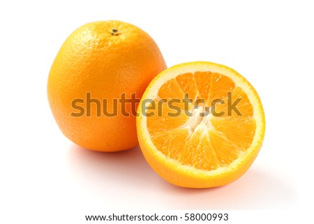 Close up of orange with another half isolated on white background.