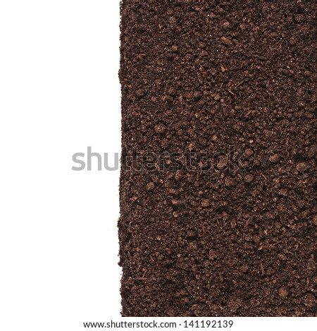 Close up of organic soil border isolated on white background - stock photo