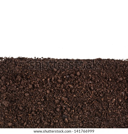 Close up of organic soil isolated on white background - stock photo