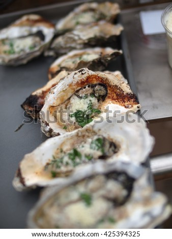 Close Up of Oysters Rockefeller
