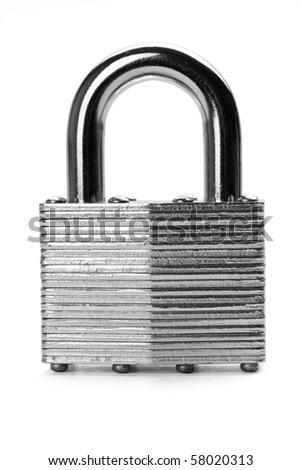 Close up of padlock isolated on white background. - stock photo