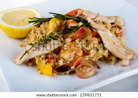Close-up of Paella - spanish dish with sea food  - stock photo