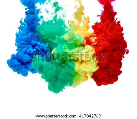 close up of paint in water - stock photo