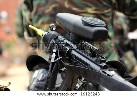 Close up of paintball marker