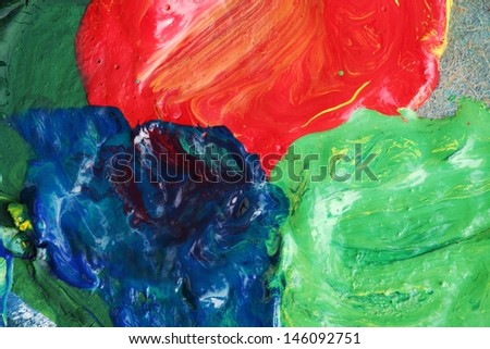 Close-up of palette with red, green and blue colors