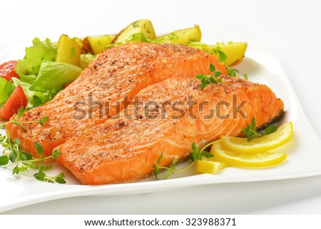 close up of pan fried salmon fillets served with vegetable garnish on white square plate - stock photo
