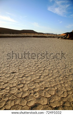Close-up of pan without water in the Sossusvlei sand dunes in Namibia - stock photo