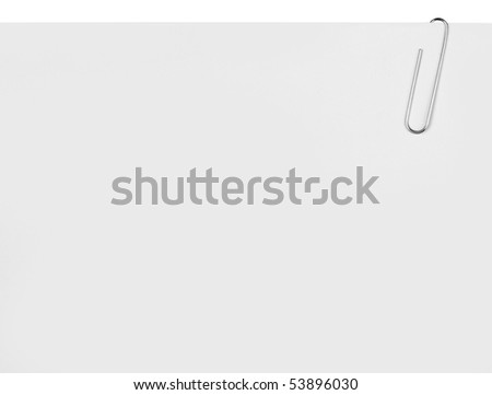 Close up of paper clip holding a blank paper sheet - stock photo