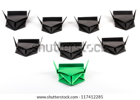 Close up of paper jets, leading the group concept - stock photo