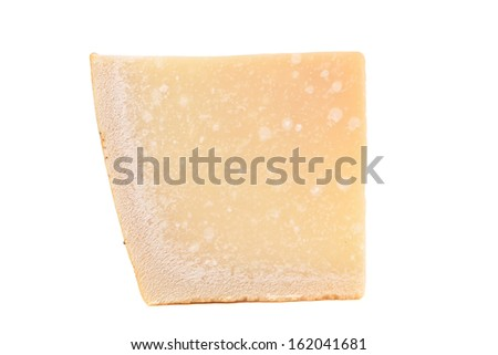 Close up of parmesan cheese. Isolated on a white background.