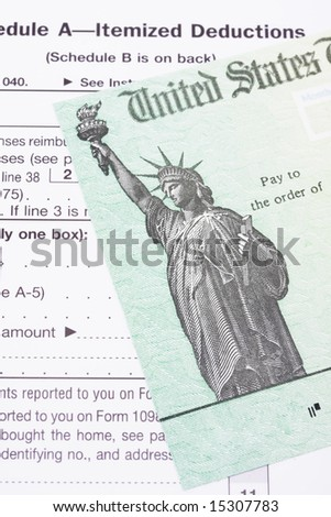 Close up of part of a tax refund check - stock photo