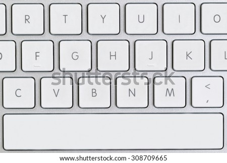 Close up of partial computer keyboard in filled frame layout.  - stock photo
