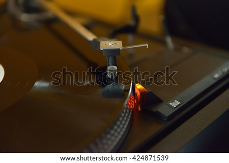 Close up of parts vintage vinyl disk player ready to use. Selective focus. Dials and controls detail - stock photo