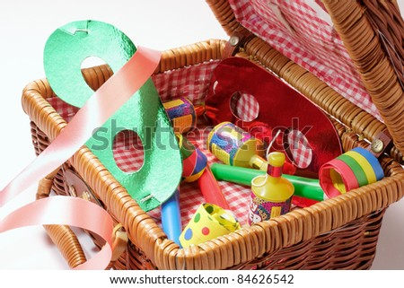 Close Up of Party Items in Basket - stock photo