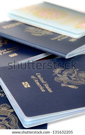 Close up of passports - stock photo