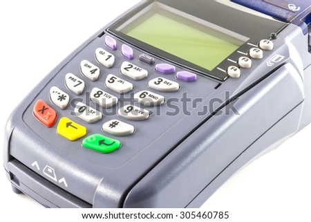 Close-up of payment machine , credit card machine isolated on white background - stock photo