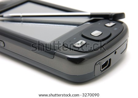 Close up of pda phone over white background